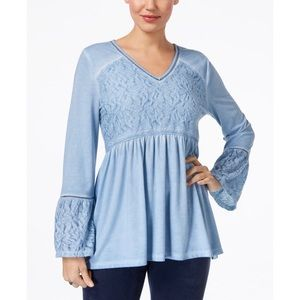 Style and Co. Jacquard Detail Peasant Top